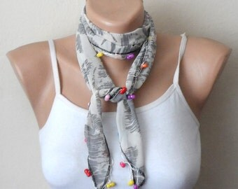 white black scarf  blue red yellow beads chiffon fabric turkish oya yemeni handmade