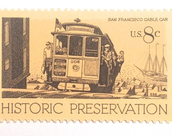 10 Unused San Francisco Stamps // Vintage Cable Car // San Francisco Street Car// 8 Cent Postage Stamps for Mailing