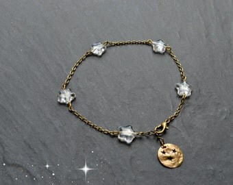 """""""Pia"""" ankle chain composed of Czech glass star"""