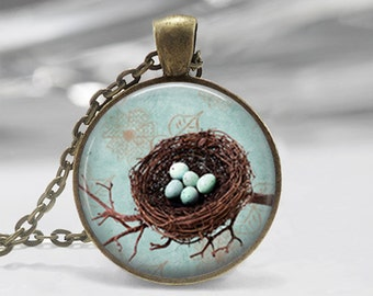 Bird Nest Springtime Glass Photo Pendant Necklace or Key Chain Blue Eggs Spring Jewelry
