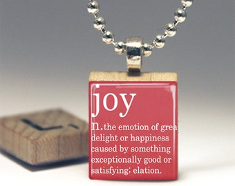 Joy Dictionary Definition Scrabble® Tile Pendant Necklace or Key Chain  Made in USA jewelry Definition Jewelry Red Necklace