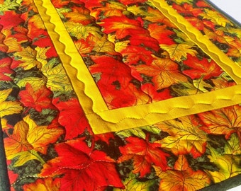 Autumn Leaves Thanksgiving Table Runner: quilted fall table runner, green & gold table mat, fall decor, quilted topper, coffee table runner