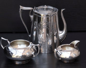 Ornate Hand chased Knickerbocker Silver Plated Tea Set