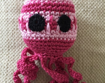 Crochet octopus toy dark and light pink 6""