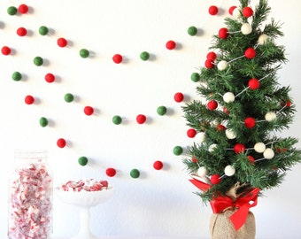 Christmas Garland, Pom Pom Garland, Felt Banner, Felt Garland, Mantle Decor, Xmas Tree Decor, Rustic Tree Trim, Wall Hanging, Party Decor