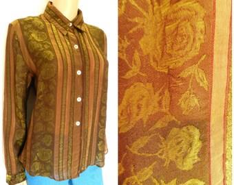 90's VISCOSE semi sheer shimmering gold rust + olive green  ROSES stripy blouse u.k. 12 – 14 M