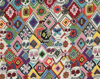 Alexander Henry Fabric by the Yard Folklorico Calaveras de Mi Querida Natural and Bright 7843-A