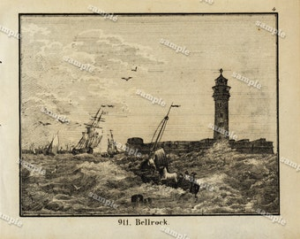 1830 Original Antique Engraving of View of Bell Rock Black and white