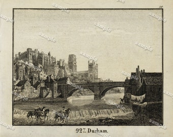1830 Original Antique Engraving of View of The Ducham Black and white- architecture- landscape view