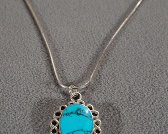 Vintage Pendant Charm Slide Necklace Chain Sterling Silver Large Domed Oval Turquoise Fancy Scrolled Southwestern Style      #994      **RL