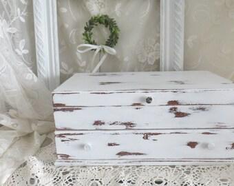 Vintage Shabby White Jewelry box - Wood Jewelry Box Custom Jewelry chest