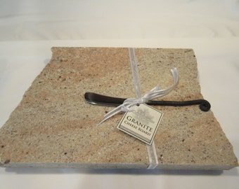 Granite Cheese Board, Medium Size, Dusty pink and beige mix, with wrought iron style cheese knife