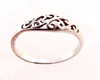Sterling Silver Ring, Silver Engagement Ring, Cute Rings, Silver Rings for Women, Ornamental Ring, Sizes - 4, 5, 6, 7, 8, 9, 10, 11