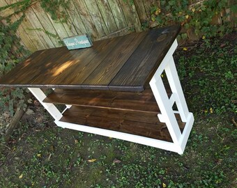 """Rustic KITCHEN ISLAND BAR By Unique Primtiques Tall Table Work Bench W/7"""" Overhang 24x67x36h Dark Walnut Stain Honeymilk Custom Sizes Colors"""