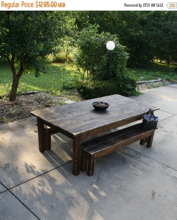 25 off 10 foot dark walnut stained by uniqueprimtiques for 10 foot farm table