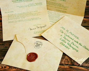 Hogwarts Acceptance letter, Harry Potter or custom with your own address! Available with Hogsmeade permission!