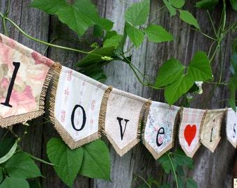 Custom LOVE IS SWEET bunting banner flag...wedding, celebration