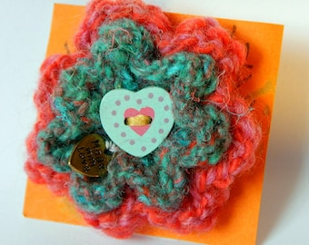 Hand Knitted Red/Pink/Green Flower Brooch