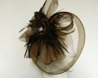 Vintage inspired brown tulle feather flower fascinator
