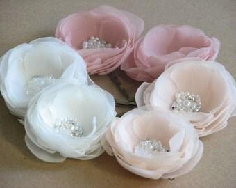 Champagne hair flowers, Blush hair flowers, Ivory hair flowers, Wedding hair flower, Blush headpiece, Champagne hair piece, Ivory hair pins