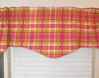 Plaid valance, pink, green, window valance, shaped valance, lined valance, modern valance, custom valance,