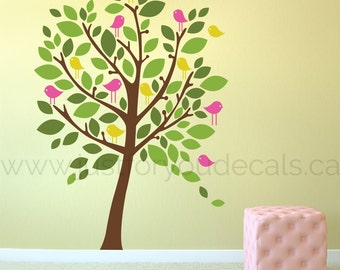 Tree Wall Decal, Nursery Tree Wall Decal, Woodland Animals Wall Decal, Tree and Animal Wall Decals, Playroom Living Room Wall Decals 06-0008