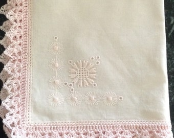 Pink embroidered handkerchief