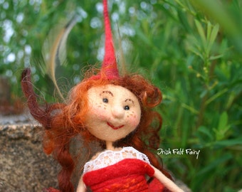 quirky little felt fairy ,felted  wool fairy,sitting fairy,red felt fairy,fibre felt fairy, GwendolineSummy