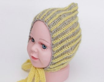 knit pixie bonnet, newborn pixie hat, newborn bonnet, newborn photo prop, photography prop, grey and yellow bonnet, ready to ship, rts