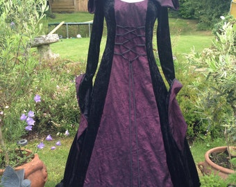 Bespoke hooded goth witch pagan black medieval wedding gown / dress size 8 to 14