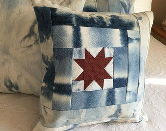 Star Tie Dyed Denim Pillow Cover, Repurposed Jeans