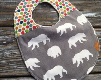ORGANIC Bib ~ Two Toned/Quilted ~ Woodland//Bear//Tribal//Forest//Dots//Camp//Hike