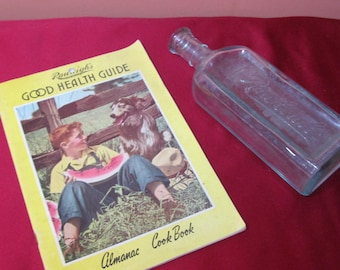 Rawleigh's 1953 health guide; aqua blue bottle 1940's