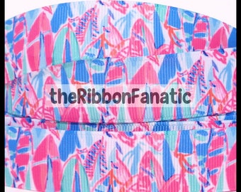 """5 yds 7/8"""" Lilly Fabric Inspired Out to Sea Sailboat Grosgrain Ribbon"""