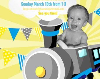 Personalised first birthday invitation - BLUE & YELLOW TRAIN!