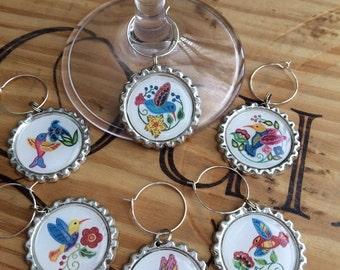 Colorful Hummingbird wine glass charms