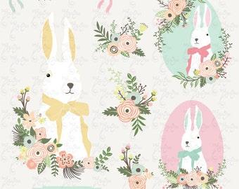 """Easter clip art """"EASTER CLIPART""""Set, Easter Bunny, Vintage Flowers, Flower frames, Easter Egg, 23 Png file 300 dpi. Instant Download Ed028"""