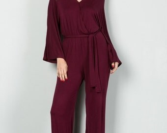 Wine Jumpsuit, Red Jumpsuit, Burgundy Jumpsuit, Comfortable Jumpsuit, Boho Jumpsuit, Resort Jumpsuit, Jumpsuit, Valentine Gift, Gift for Her