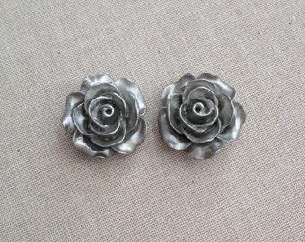 Silvery rose post earrings, flower posts, roses, bridesmaid earring, gift, weddings, bridesmaid gift, jewelry, studs, earring