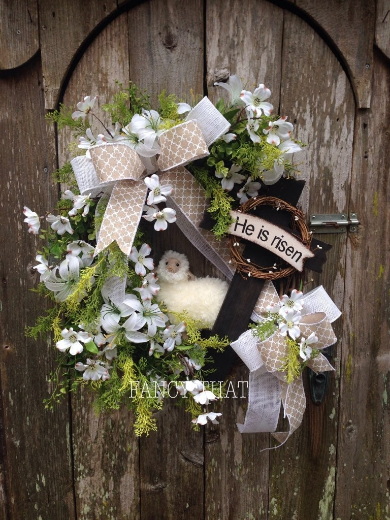 Easter Religious Wreath He Is Risen Cross Wreath Lamb