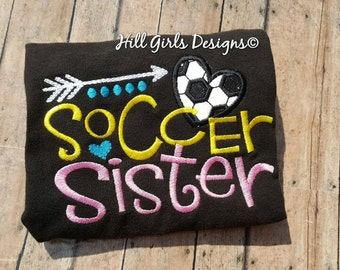 """Girl's embroidered """"Soccer Sister"""" shirt with name"""