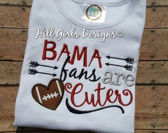 "Girl's Ruffled Alabama Crimson Tide, ""BAMA fans are cuter"" embroidered shirt"