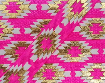 5/8 PASSION FRUIT Aztec (Repeating Pattern) Fold Over Elastic