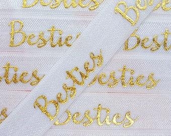 5/8 WHITE with Gold BESTIES Fold Over Elastic