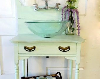 SOLD-Upcycled Fully Plumbed Sink made from antique Dry Sink