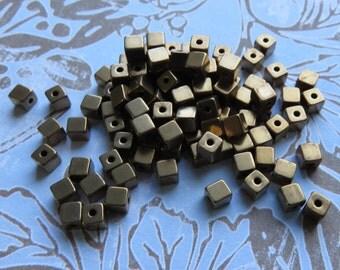 Brass Cube Beads, 4 mm, 24 Beads - Item 3465
