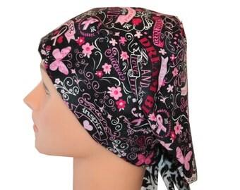 Scrub Hat Surgical Scrub Cap Chemo Vet Nurse Dr Hat EuroGlam Pixie European Pink Ribbon Black Cancer Awareness Hope 2nd Item Ships FREE