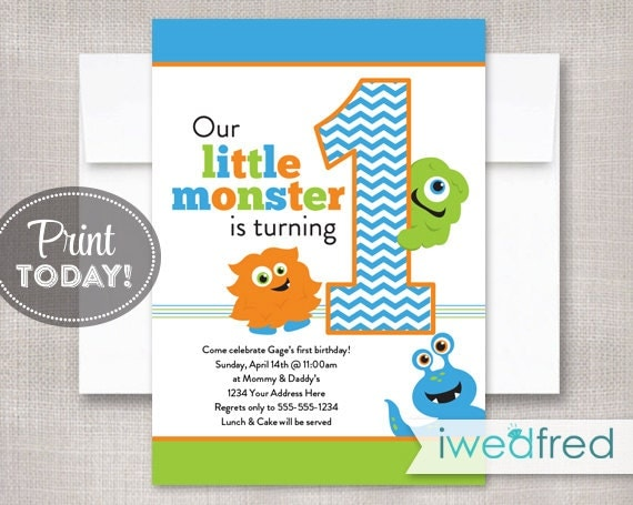 Little Monster Invitation Birthday Printable Template First