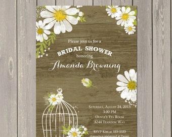 Daisy Bridal Shower Invitation, Rustic Daisies Shower Invitation, Bird Cage Shower Invite, Printable or Printed