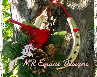 SALE - Redbird, Christmas, Gold Horseshoe Wall Decor